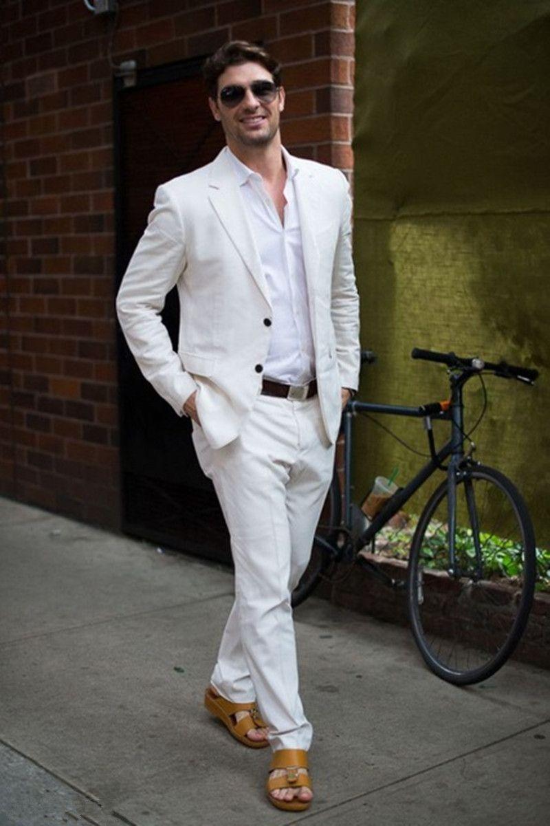 Fashion Ivory White Linen Casual Men Suits Summer Beach Tuxedo
