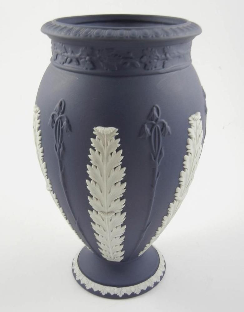 Wedgwood Jasperware Portland Blue Acanthus 775 Footed Vase Made In