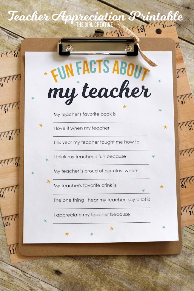 Teacher Appreciation Printable Fun Facts About My Teacher