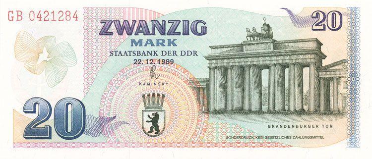 Ddr Gedenkbanknote Zur Offnung Des Brandenburger Tores In Berlin Ddr Staatsbank Geld Geldschein Banknote Papiergeld Gedenkb Brandenburger Tor Ddr Bank