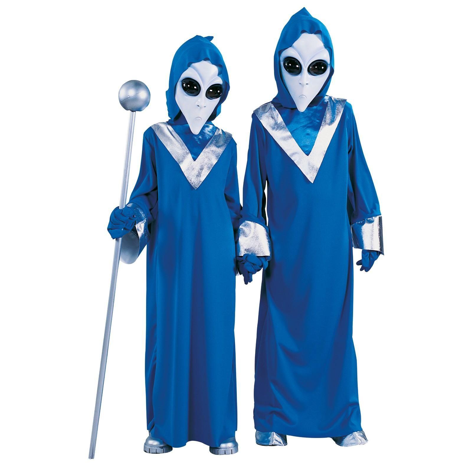 Kids Alien Costume Martian Outer Space Boys Girls Unisex Mask Robe Blue Silver