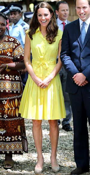 ... in a highlighter yellow Jaeger shirtdress and her trusty L.K. Bennett  pumps for her visit to the cultural village of Honiara on Guadalcanal Island . 1d60cfb06