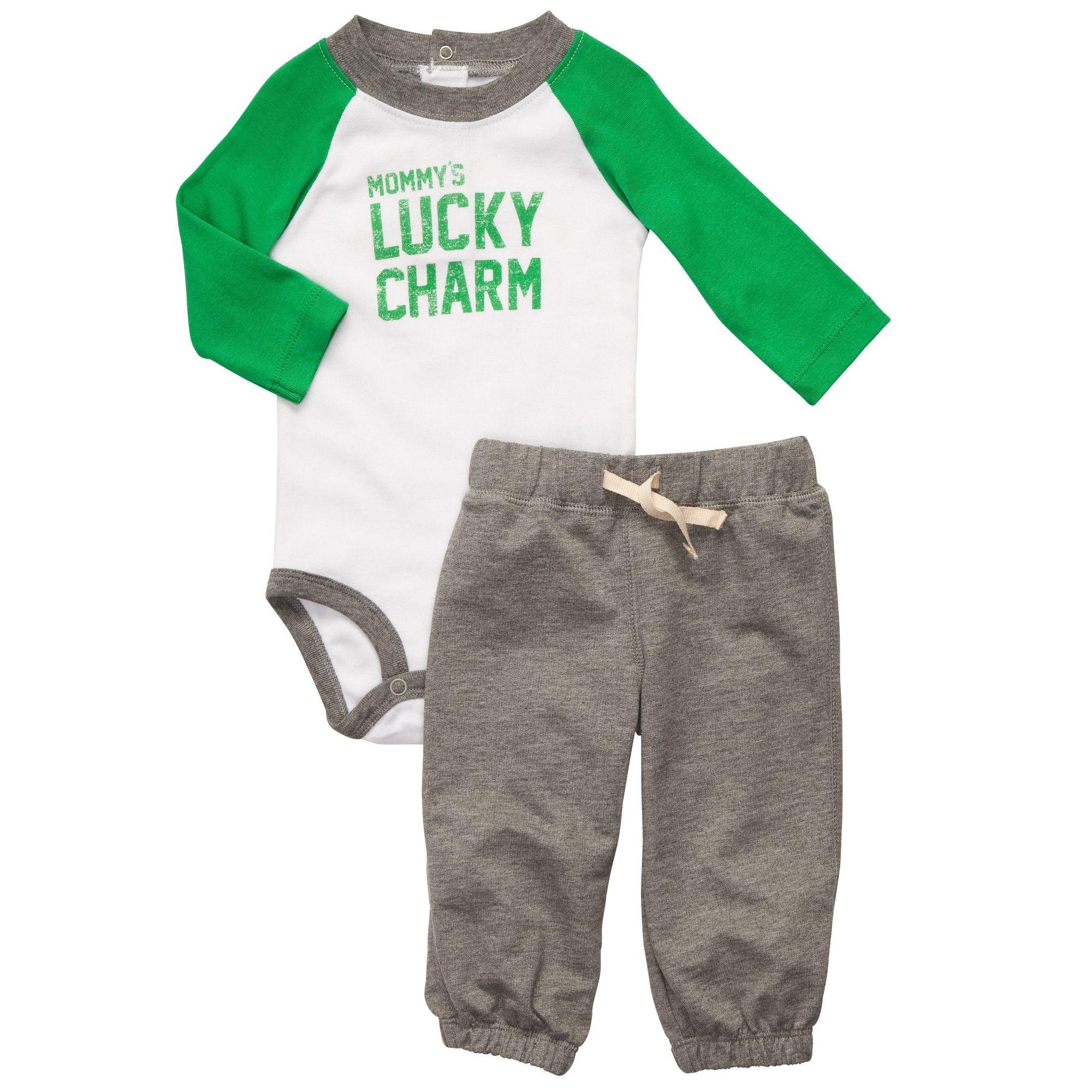 St Patrick s Day 2 Piece Bodysuit Pant Set Baby Boy Sets