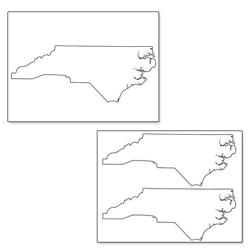 Printable Shape of North Carolina from PrintableTreats Shapes - best of large printable world map pdf