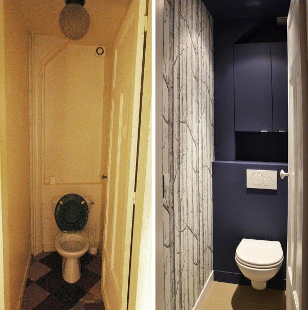 Avant Apres Un 75 M2 Totalement Repense Papier Peint Toilette Relooking Toilettes Et Deco Toilettes