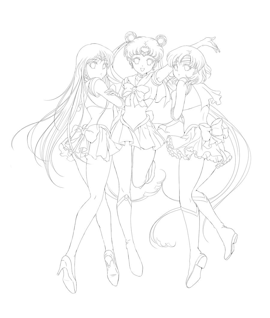 Lineart: Sailor Trio by Rurutia8 on DeviantArt