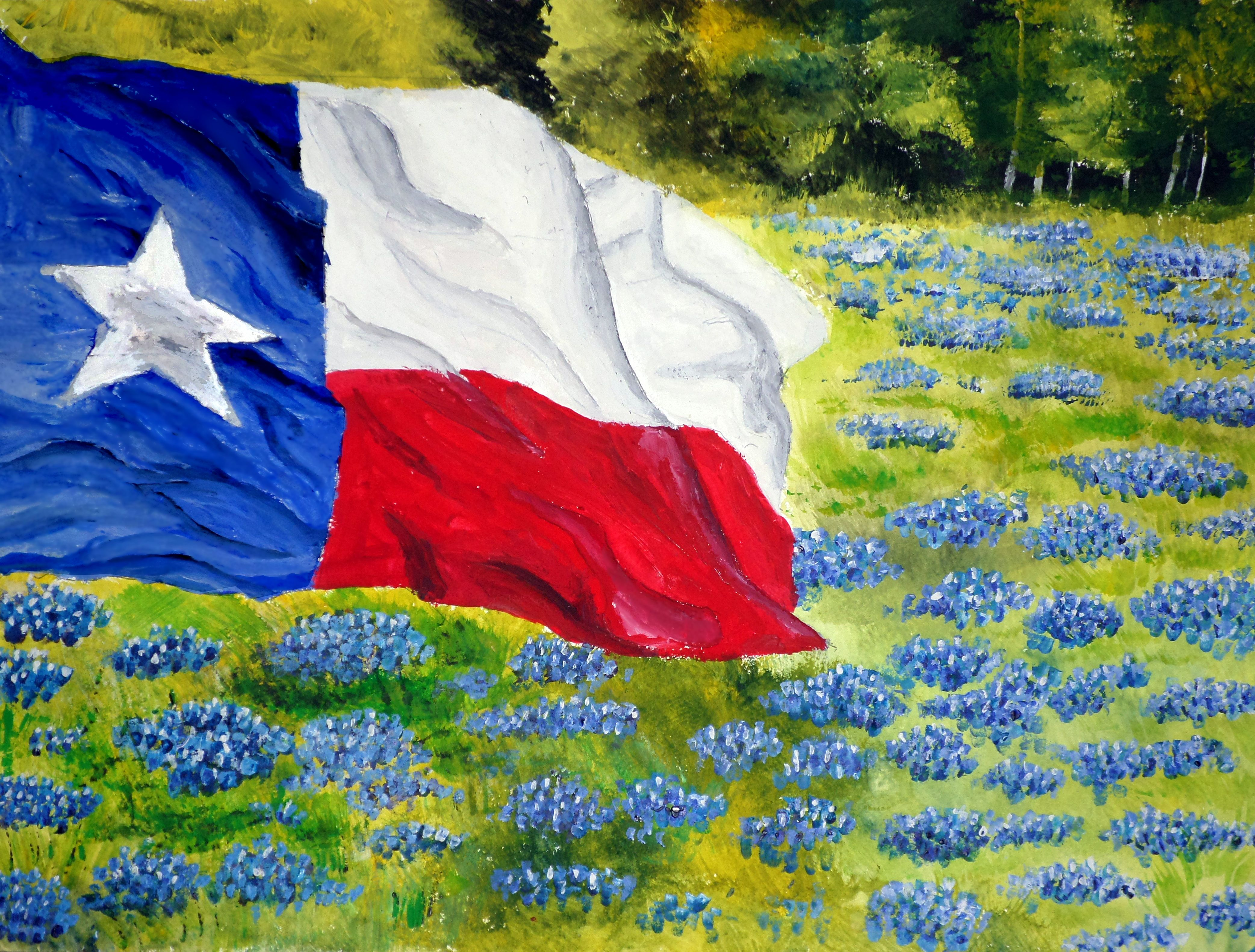 Texas Flag On A Field Of Bluebonnets Original Watercolor Painting Star Painting Texas Art Painting