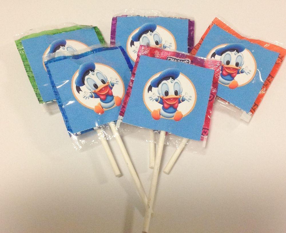 12 Baby Donald Duck Lollipops Candy For Party Favors Lollipop