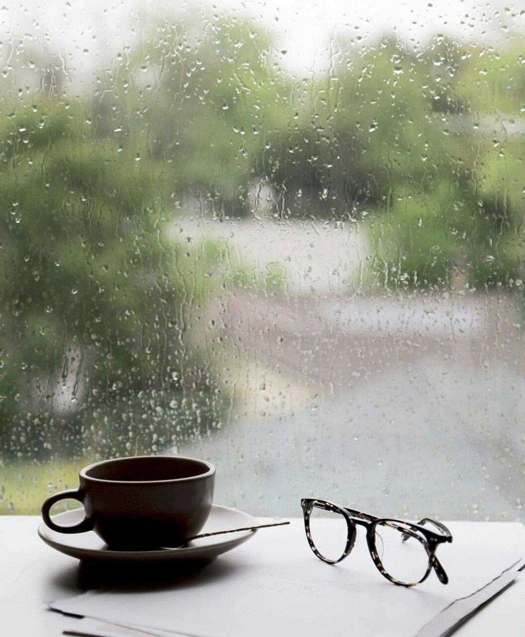 Morning Coffee Ironstone & Indigo Rain and coffee, Rainy