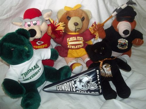 Lot 6 Stuffed Animal Plush Sports Seminoles Hawks NASCAR Chiefs Cowboys Thomas | eBay