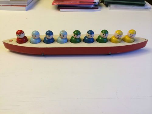 Vintage Traditional Escor Wooden Rowing Boat Toy With 9