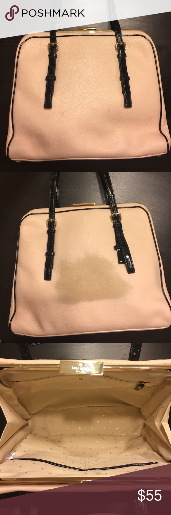 Kate spade bag Recently discovered what appears to be a 4x3 dimension of discoloration. The blush color may potentially be able to be restored by a leather/shoe repair. kate spade Bags