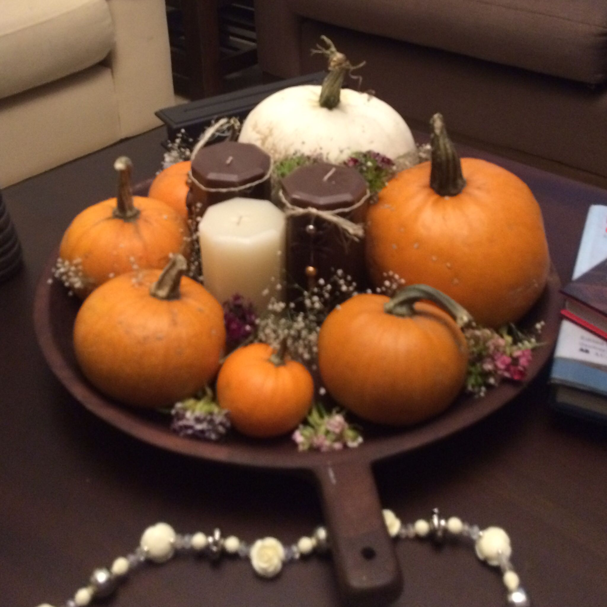 Natural pumpkin centerpiece