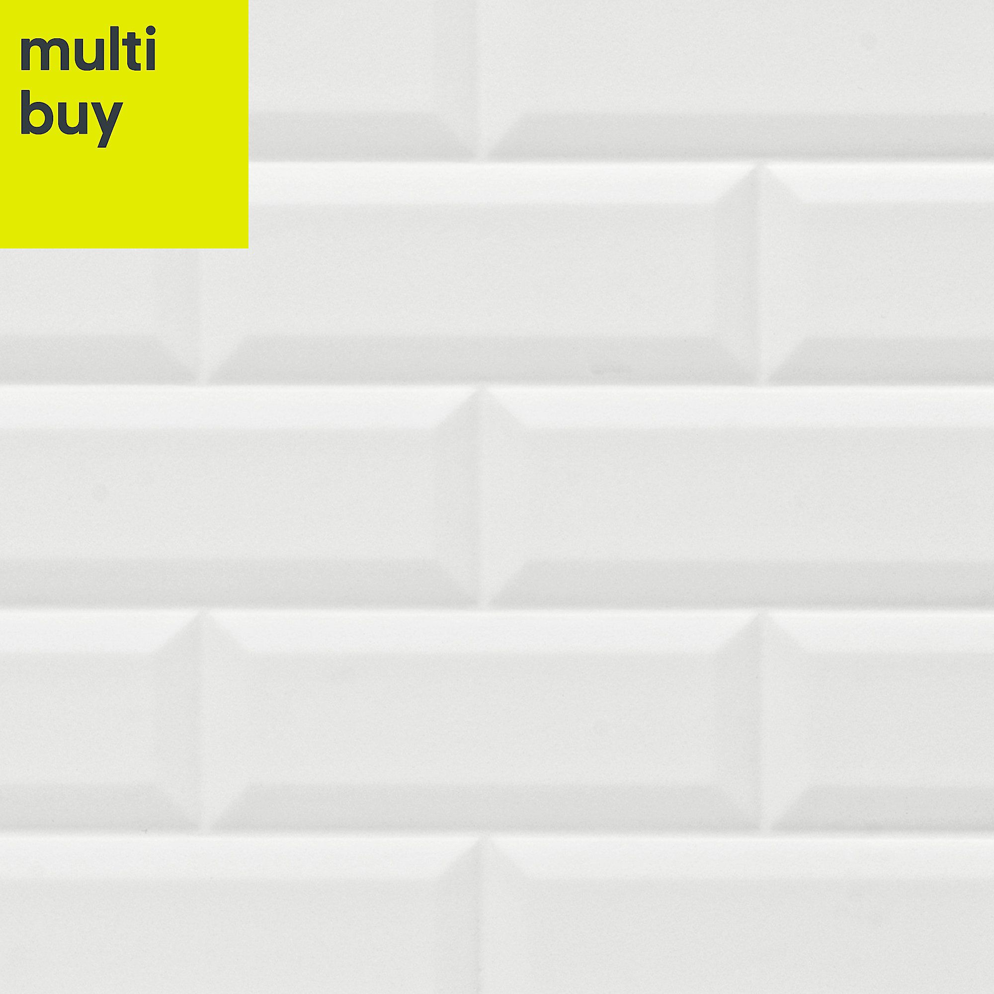 Millenium White Gloss Brick Effect Ceramic Wall Tile Pack Of 6 L 600mm W 300mm Ceramic Wall Tiles Wall Tiles White Gloss