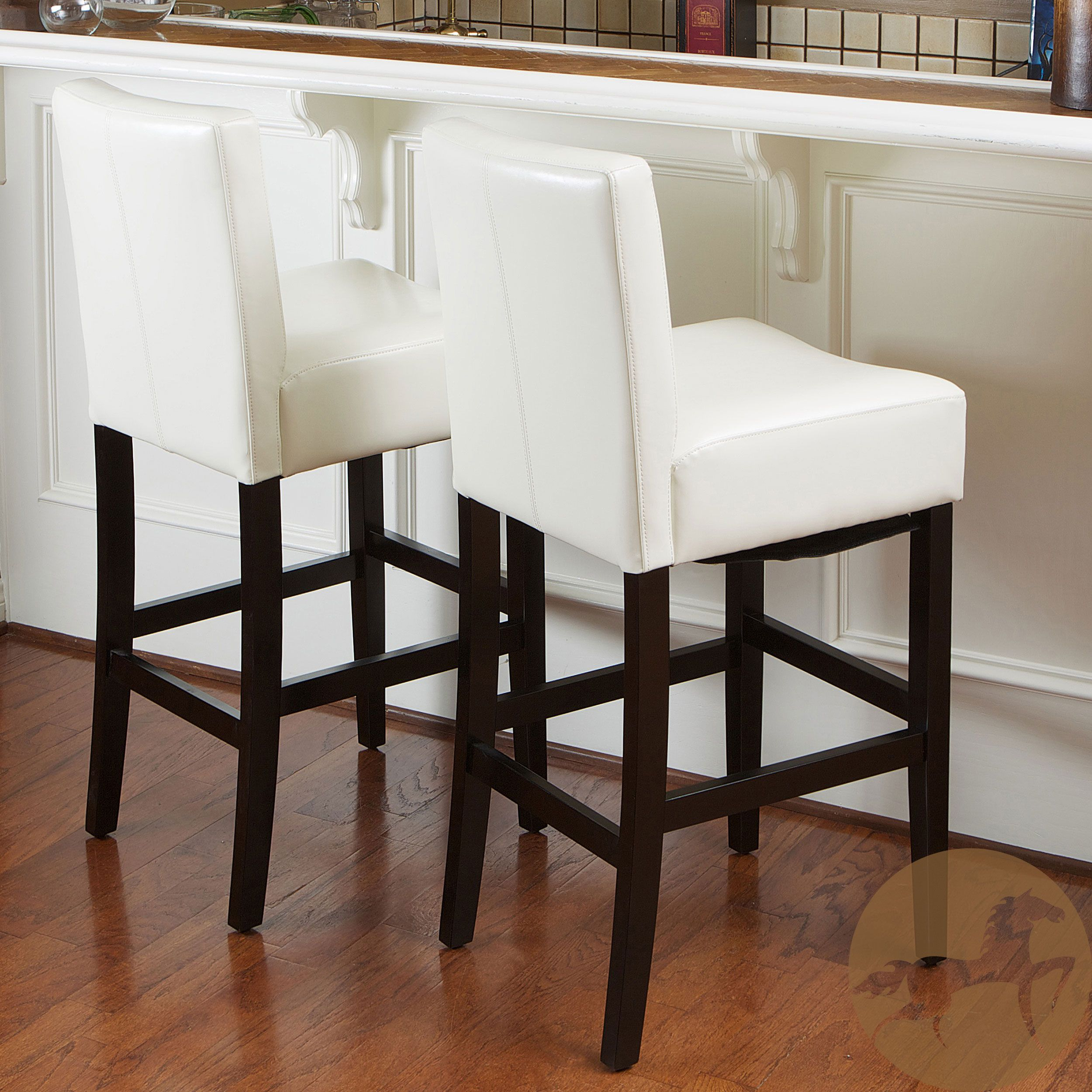 Noble House Lopez 29 5 In Ivory Leather Bar Stool Set Of 2