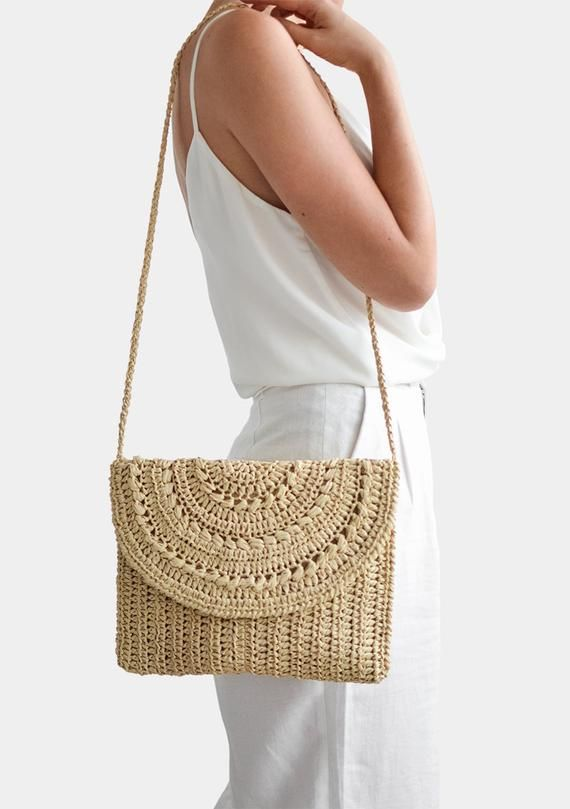 Crochet Raffia Clutch, Cross Body Purse, Raffia Shoulder Bag, Straw Summer Bag, Raffia Clutch Handbag, Crochet Summer Bag, Straw Clutch