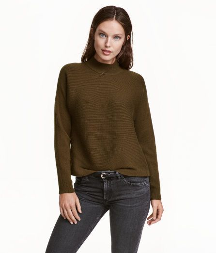 Ribbed Turtleneck Sweater | Dark khaki | Ladies | H&M US | SEH ...