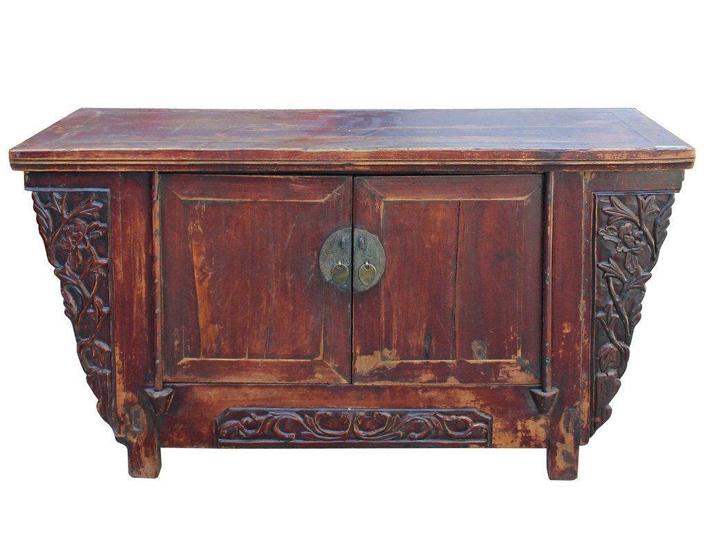 Chinese Distressed Brown Short Low Tv Console Table Cabinet Cs3957s