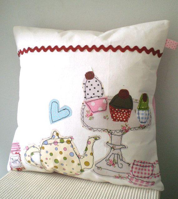 Tea Towels Pillow Talk: Ooak Upcycled Tea Towel Cupcakes& Teapot By