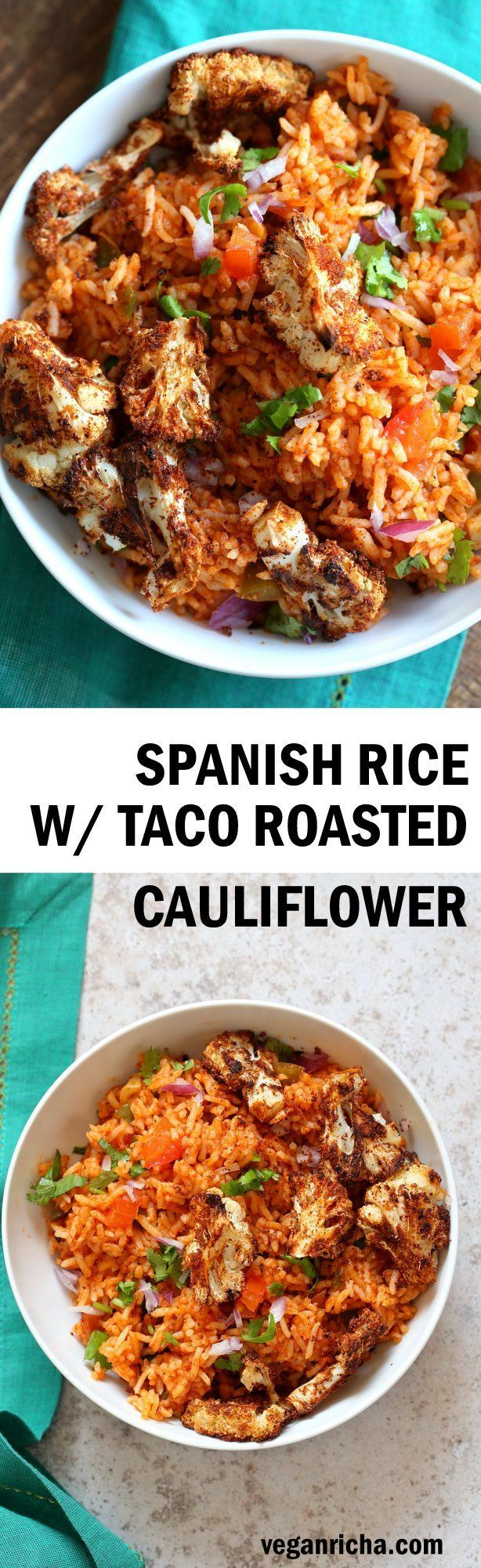 Spanish Rice Bowl with Taco Spice Roasted Cauliflower Easy Vegan Spanish Rice Bowl with Taco Roasted Cauliflower. Everyday Meal with everyday ingredients. | Easy Vegan Spanish Rice Bowl with Taco Roasted Cauliflower. Everyday Meal with everyday ingredients. |