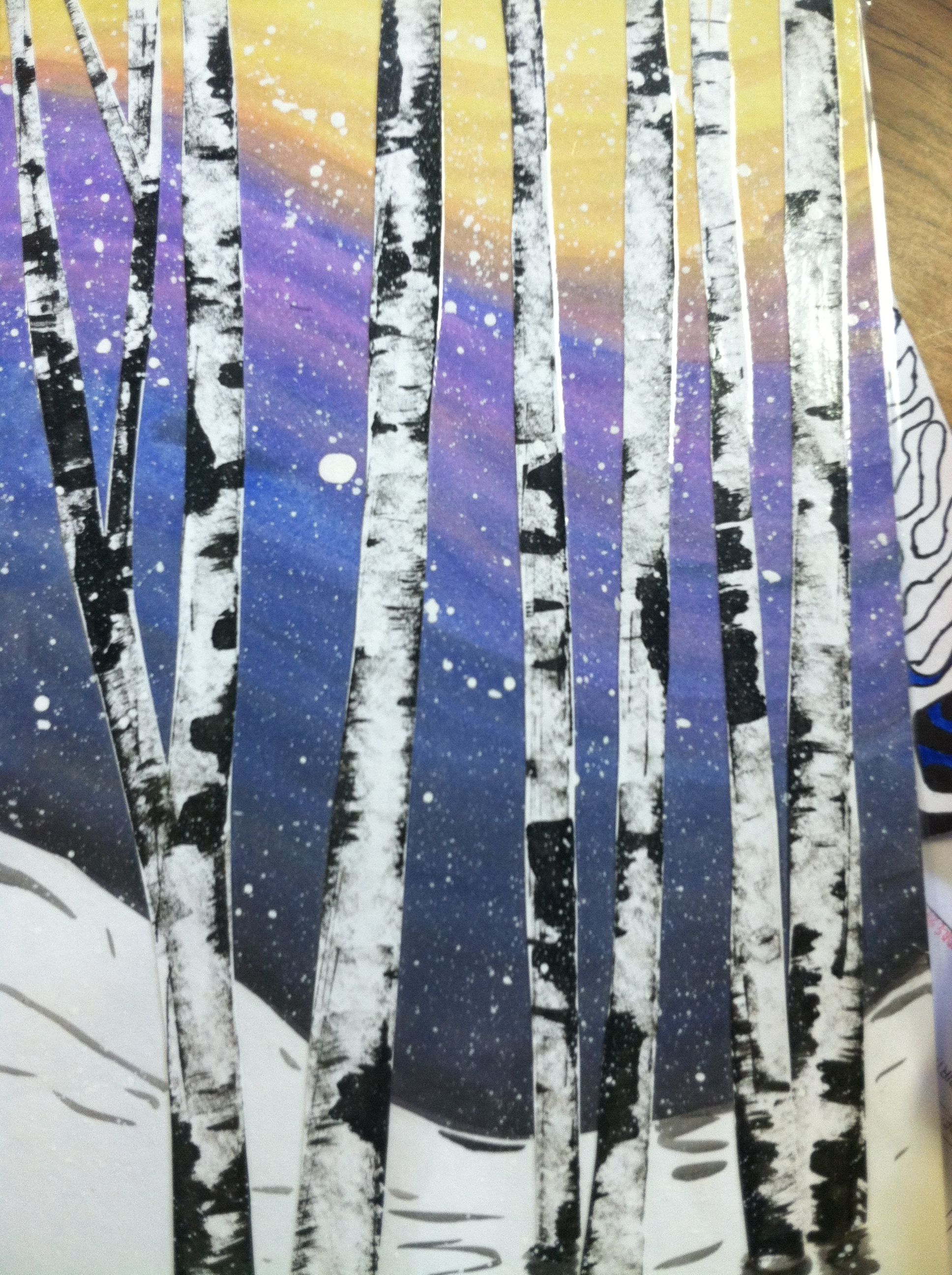 Watercolor Birch Trees School Art Projects Pastel Art Winter
