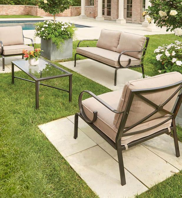 Hampton Bay Granbury 4 Piece Metal Patio Seating Set With Fossil Cushions D9581 4pc The Home Depot Patio Seating Sets Patio Seating Outdoor Patio Furniture
