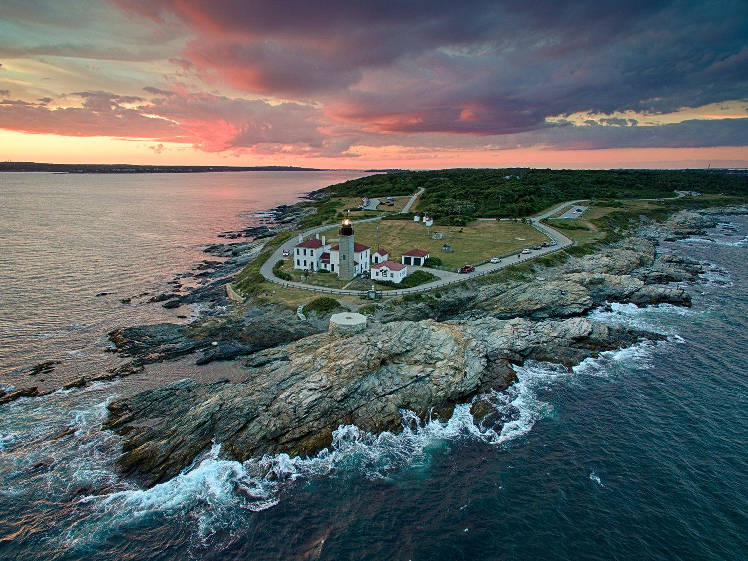 beavertail lighthouse aerial lighthouse photography drone sunset