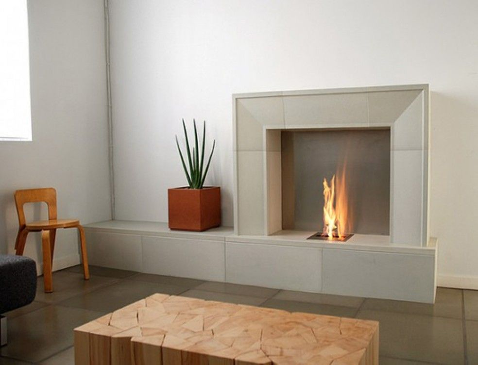 Contemporary Fireplace With Grey Raw Limestone Tile Surround