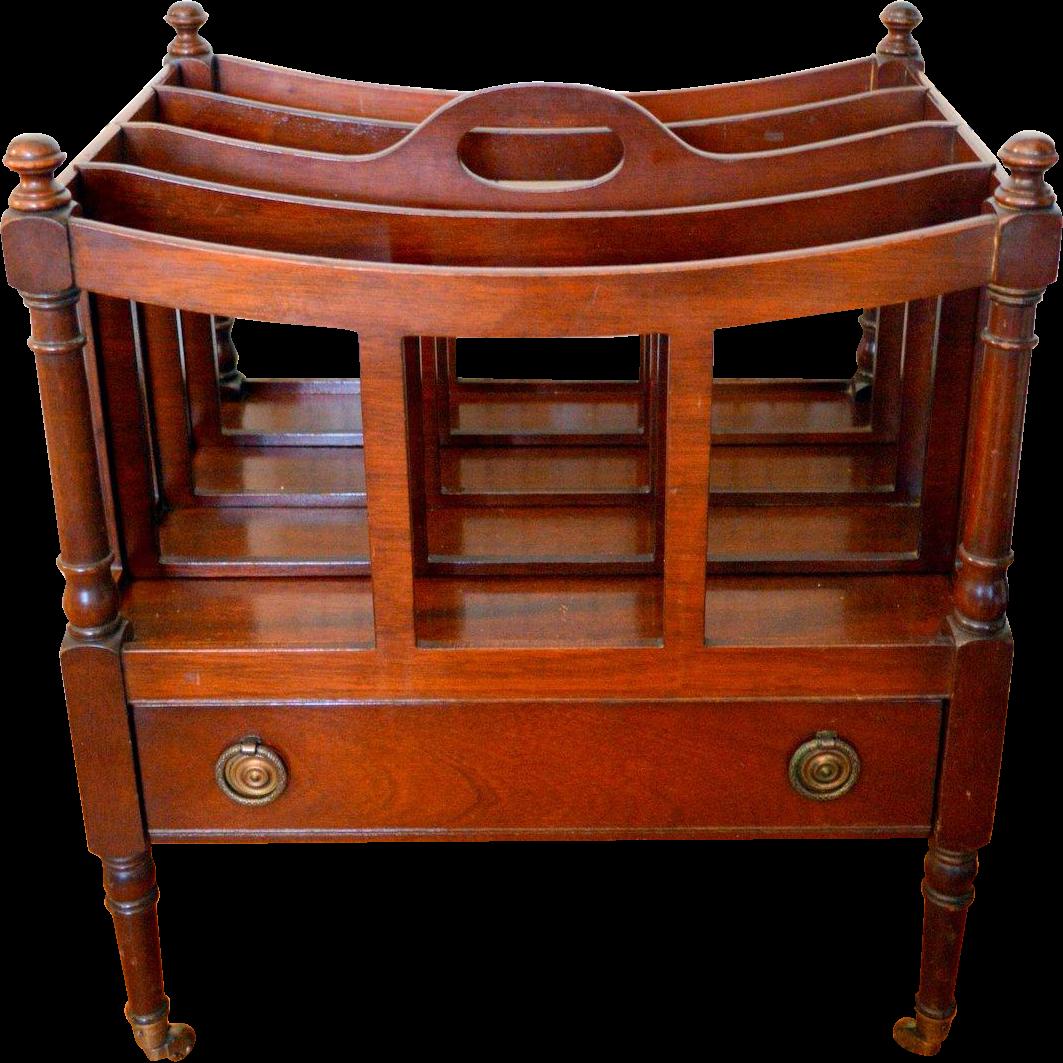 Antique Furniture · Flint Horner Mahogany Canterbury Magazine Rack With  Drawer
