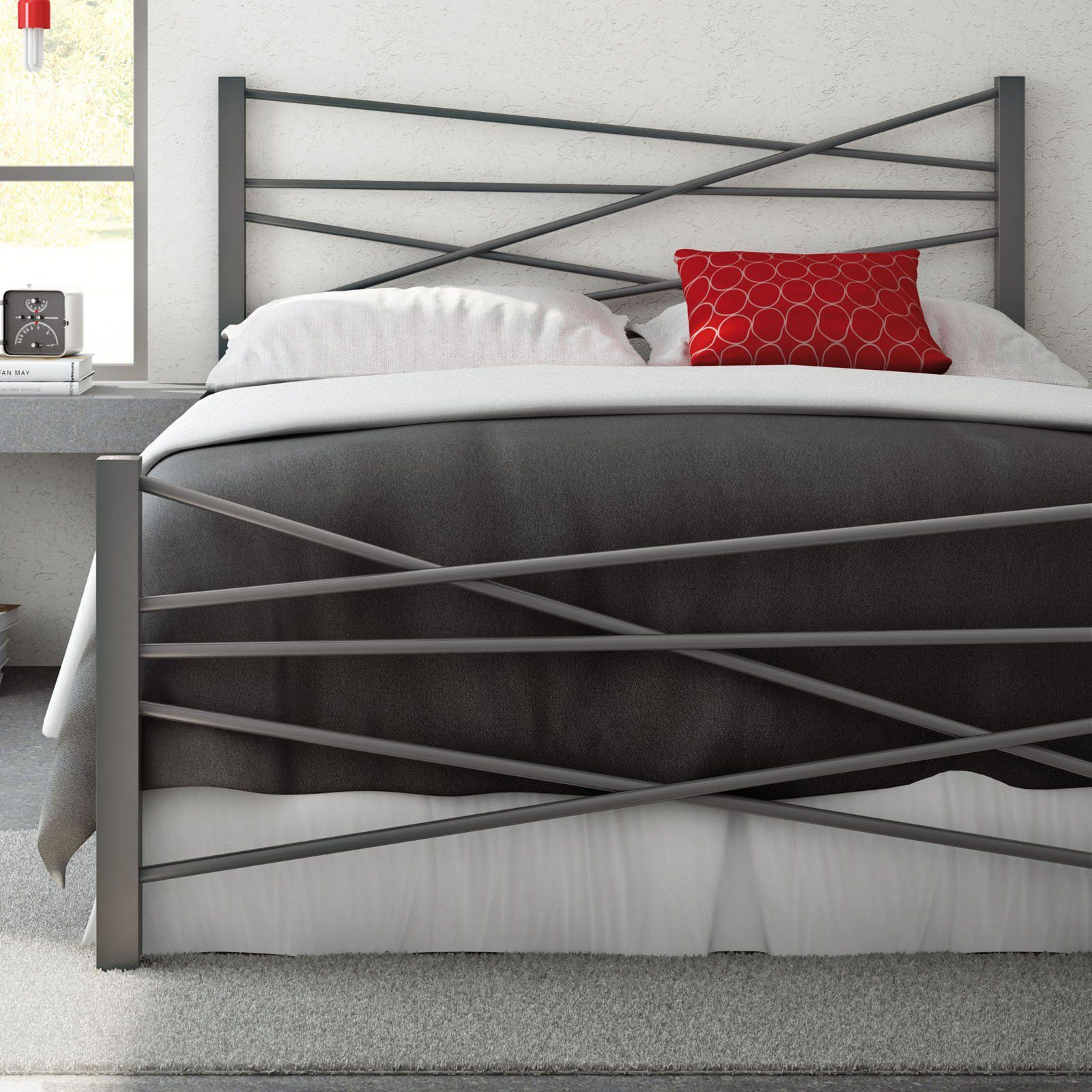 Amisco Crosston Metal Bed - With asymmetrical appeal for the bedroom ...