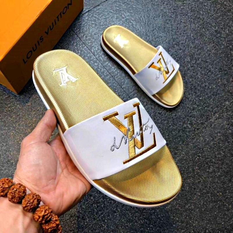 LV Slippers Gold (With images) Lv slippers, Gold