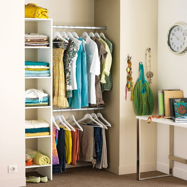 dressing tout en un blanc longueur 110 cm castorama rangement en 2018 pinterest dressing. Black Bedroom Furniture Sets. Home Design Ideas