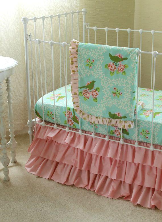 Ruiseñor turquesa bebé Bumperless ropa de cama en por LottieDaBaby