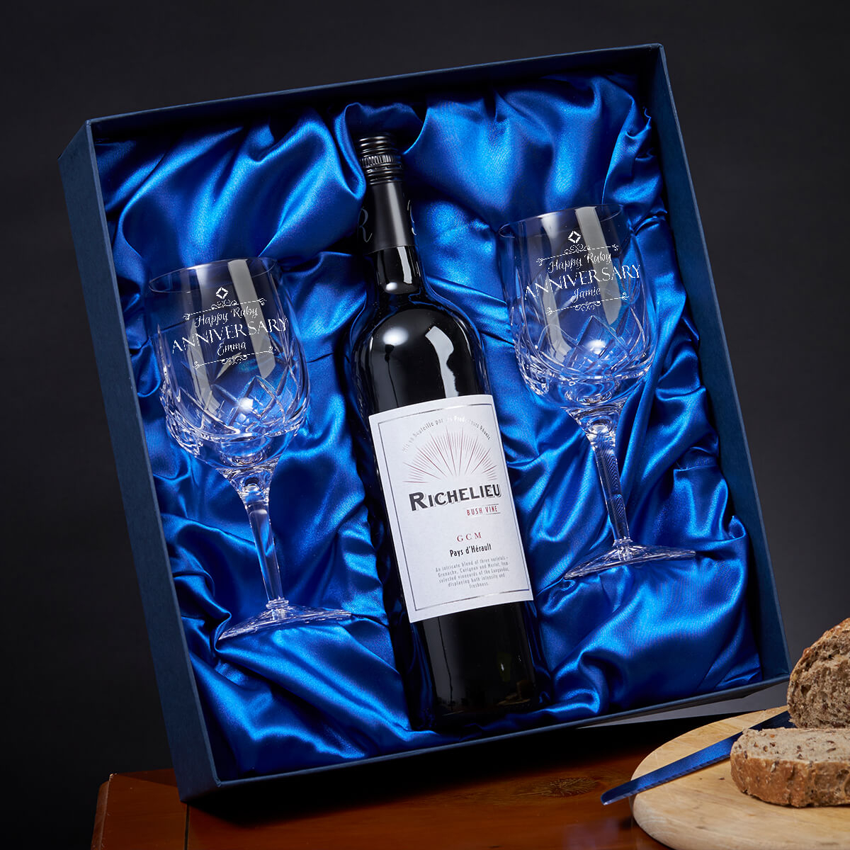 Personalised 40th Anniversary Goblets And Red Wine Set