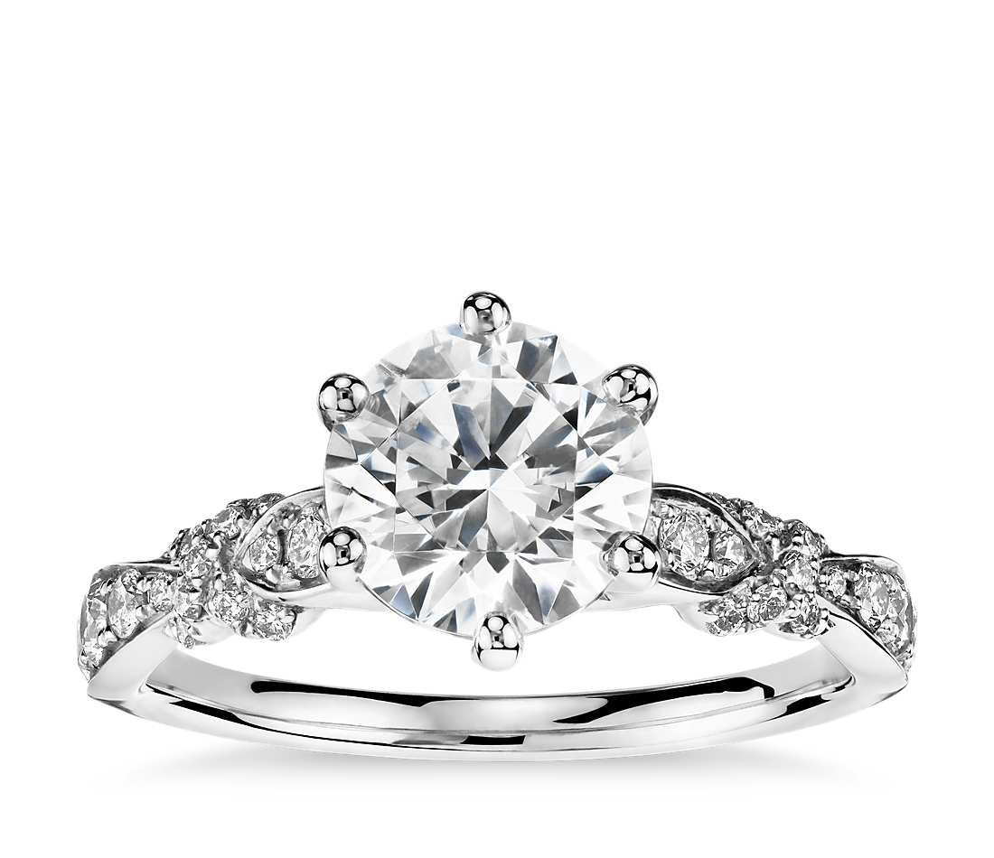 0.7ct Round Cut Diamond Engagement Ring Twisted Infinity 14k White Gold Over