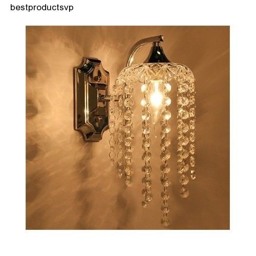 Details about Vanity Light Fixture Chrome Sconce Modern Crystal Wall ...