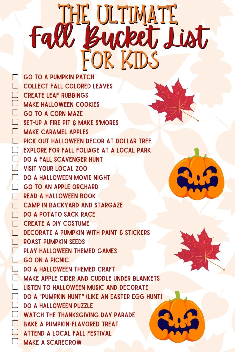 The Ultimate Fall Bucket List for Kids