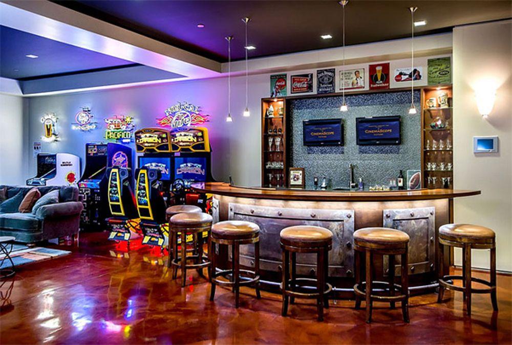 Interior : Modern Home Bar Entertainment Space Plus Arcade High Gloss Wood  Floor Laminate Turquoise Sofa