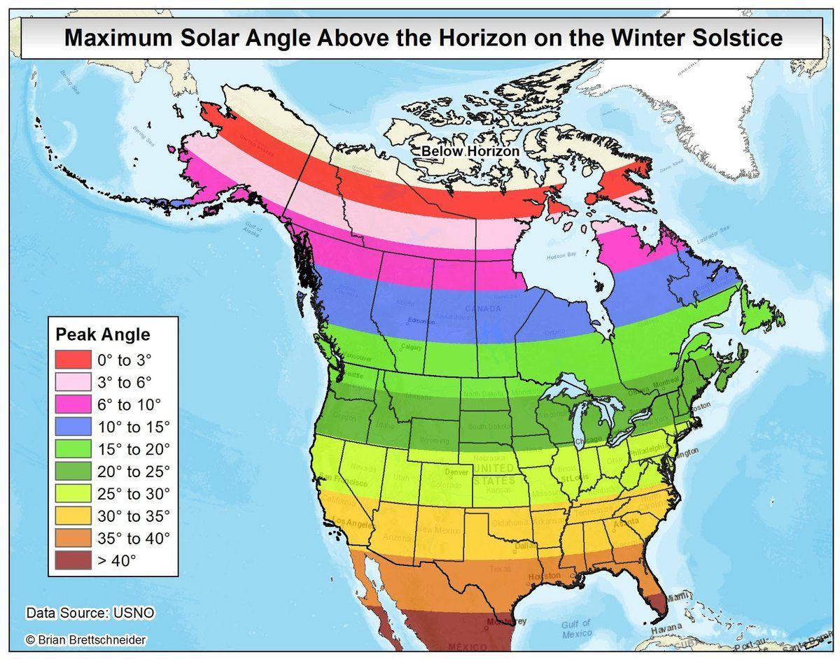 Maximum Sun Angle Elevation Above Horizon On The Winter