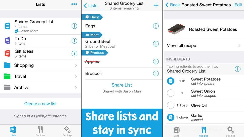 Create and share grocery lists on your tablet or phone Create - excel spreadsheet app iphone