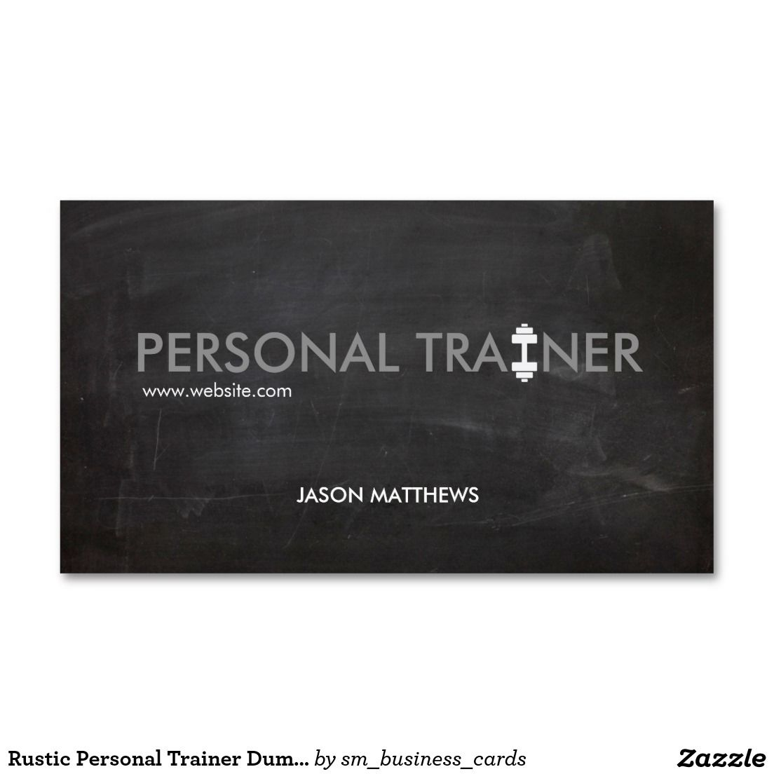 Rustic Personal Trainer Dumbbell Logo Fitness Double-Sided Standard ...