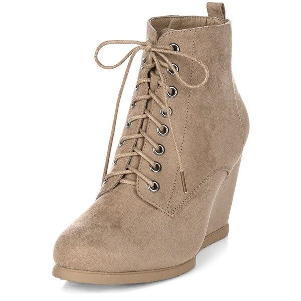 cb707d45bc9 Light Brown Lace Up Wedge Boots ($36) ❤ liked on Polyvore featuring shoes,  boots, ankle booties, light brown, wedge heel booties, lace-up ankle booties,  ...