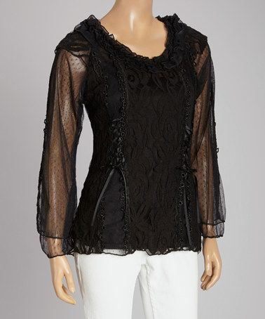 Look what I found on #zulily! Black Lace Ruffle Linen-Blend Scoop Neck Top #zulilyfinds