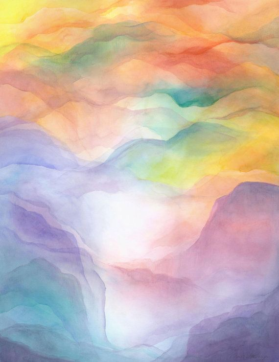 Mountains Of Home Watercolor Veil Print Art Painting Prints