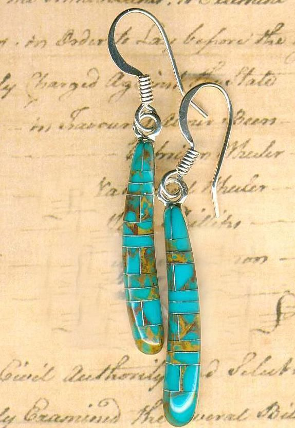 Southwest Turquoise Inlay Gemstone Earrings~Sterling Silver Setting & Earwires