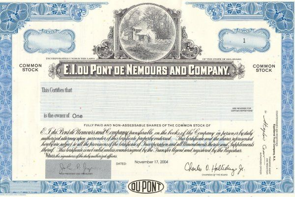 Buy One Share of DuPont Stock for a Unique gift UniqueStockGift - company share certificates