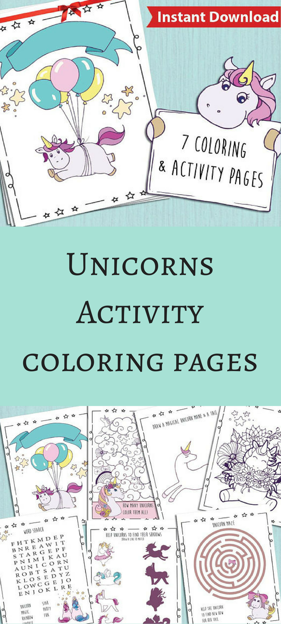 This is cute unicorns activity coloring book. :) #unicorn #coloring ...