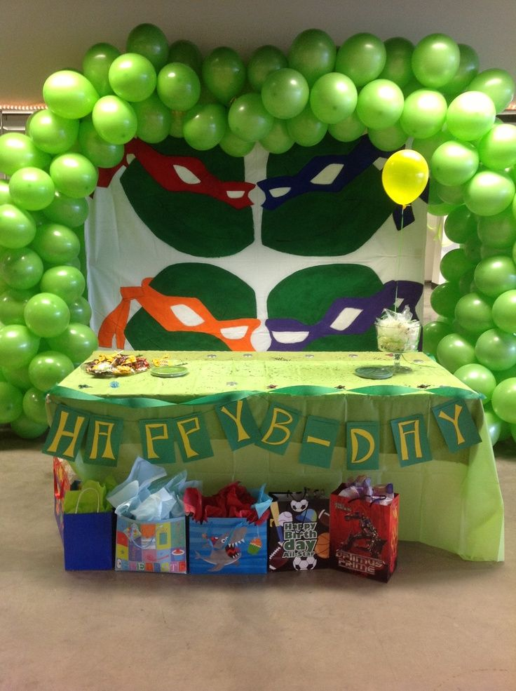 Ninja Turtle Bday Table Decoration Party Room Pinterest Ninja Turtles Birthday Party Turtle Birthday Parties Teenage Mutant Ninja Turtles Birthday Party