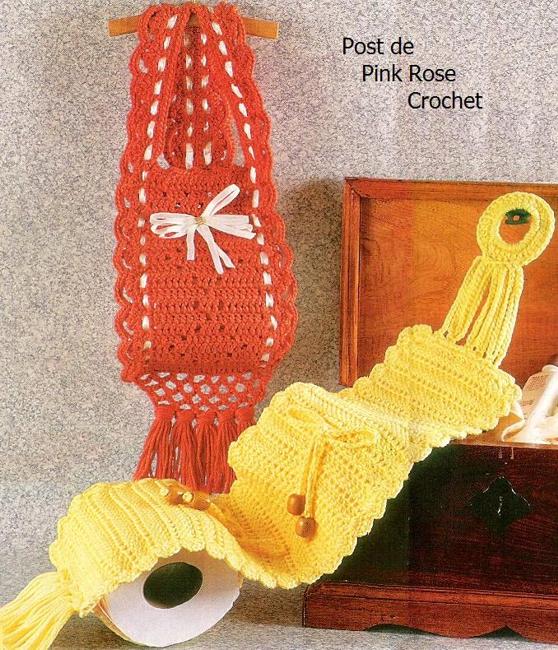 PINK ROSE CROCHET: Suporte de Papel