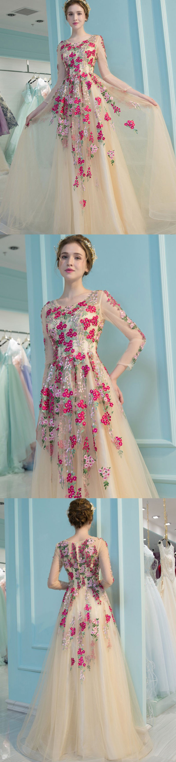 prom dress appliques long sleeve beautiful cheap prom dress